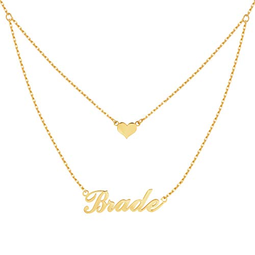 Yoke Style Personalized Layered Name Necklace with Heart, Custom Charm Nameplate Necklace Jewelry Gift for Women ()