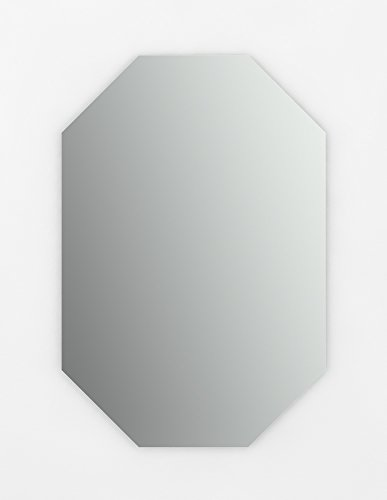 Delta Wall Mount 27 in. x 40 in. Large (L3) Octagonal Frameless Standard Glass Bathroom Mirror with Easy-Cleat Flush Mounting Hardware For Sale