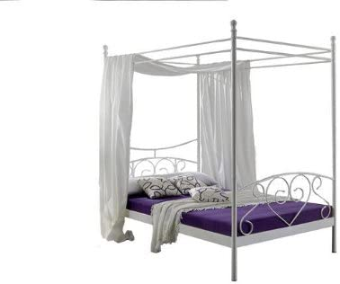 Kasper de salón diseño 9403910 Cama, Metal, Color Blanco, 200 x 120 x 200 cm