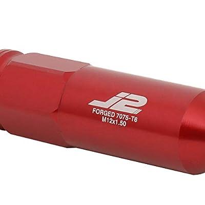 J2 Engineering LN-T7-015-15-RD Red 7075 Aluminum M12X1.5 20Pcs L: 123mm Spiky Cap Lug Nut w/Socket Adapter: Automotive