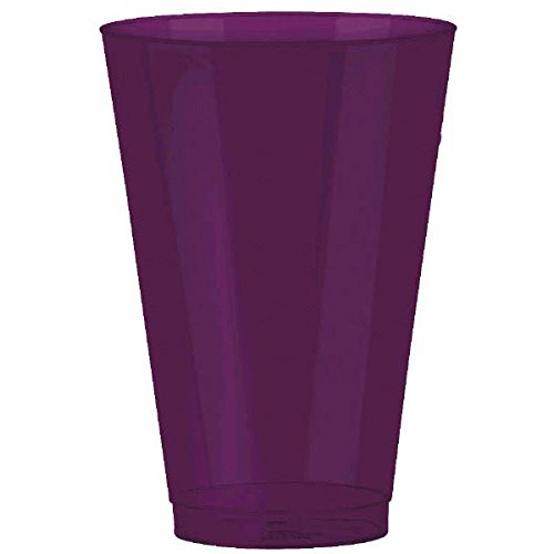 Amscan Reusable Premium Quality Plastic Round Tumblers Party Tableware, Plum, 14 Ounces, Pack of 36 Supplies (216 Piece) by Amscan