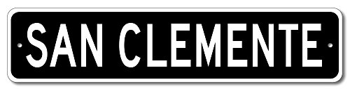 Custom Aluminum Sign SAN CLEMENTE, CALIFORNIA US City Name Sign - Black - - San Shops Clemente