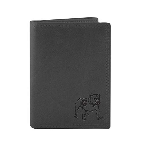 Leather Bulldogs Georgia - ZEP-PRO NCAA Georgia Bulldog Leather Trifold Bulldog Embossed Wallet-Grey