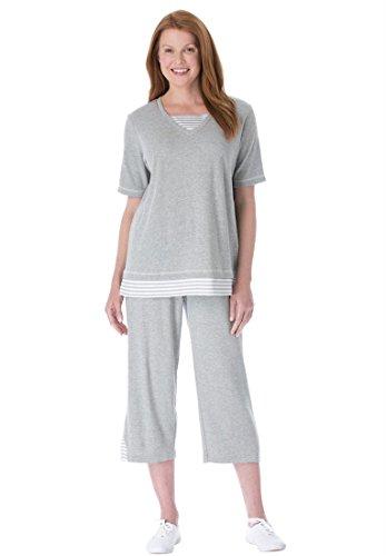 Women's Plus Size Set, Striped Inset Tunic And Capri