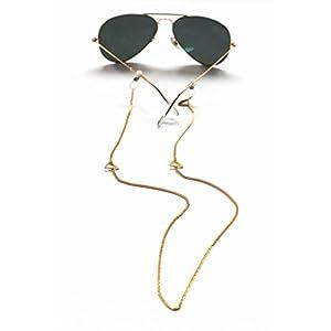 Sintillia Bermuda Chain Statement Sunglass Strap, Glasses Chain, Eyeglass Cord, Gold (Gold Chain with Clear Attachments)