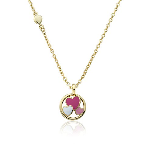 Little Miss Twin Stars Girls' I Love My Jewels 14k Gold-Plated Disc Accented with Multi-Color Enamel Cut Out Hearts Chain Pendant Necklace, 14
