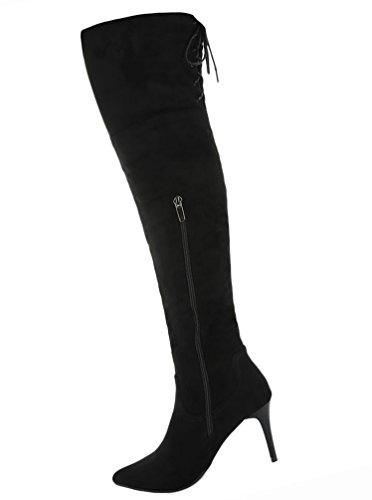 Damen Schuhe Overknee Stiefel High Heels Stiletto Schwarz Schwarz
