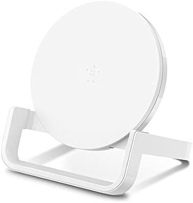 Belkin Boost Up Soporte de Carga Inalámbrica de 10 W, Cargador Inalámbrico Rápido Qi para iPhone XS, XS Max, XR, X, 8, 8 Plus, Samsung Galaxy S10, ...