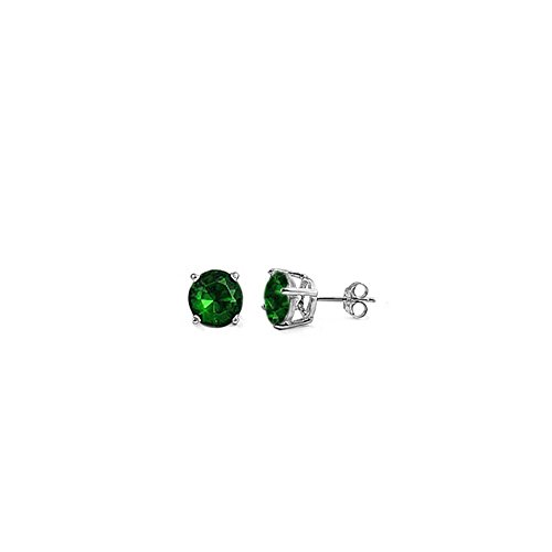 (5MM Sterling Silver Rhodium Plated Round Cut Emerald Cz Stud Earring Set on Basket Prong Setting with Friction Back Post)