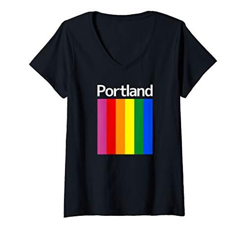 Womens Portland Rainbow Square Design - Portland Oregon  V-Neck T-Shirt