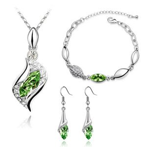 COPAUL Womens Austrian Crystal Sets,Angel The elf,Necklace,Bracelet and Earring(3-Piece Set) Jewelry Sets Olive