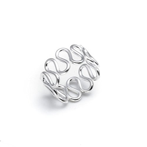 (Silverly Women's .925 Sterling Silver Snake Wave Swirl 8 mm Adjustable Toe Ring)
