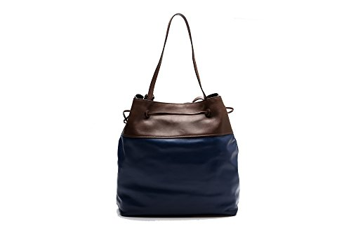 MIU MIU - BORSA A MANO BLU E MARRONE IN PELLE - ONE