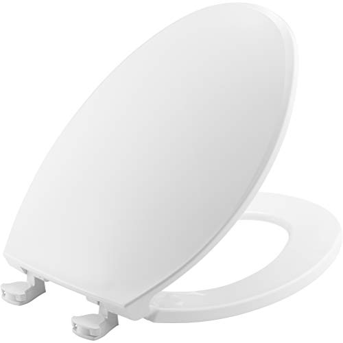 Bemis 1800EC 000 Plastic Elongated Toilet Seat with Easy Clean & Change Hinges, White