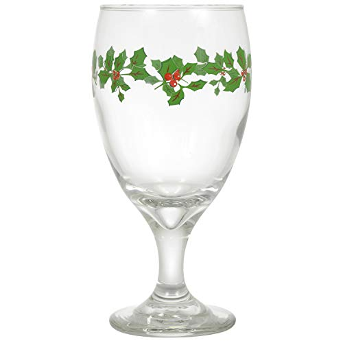 Water Goblets Set of 4-16.25 oz. USA MADE! Impressive, Durable, Multi Purpose Glasses: Ice Tea, Beer, Sangria, Cocktails Great for Christmas & Daily Use. Adorned with Holly Leaves & Berries(