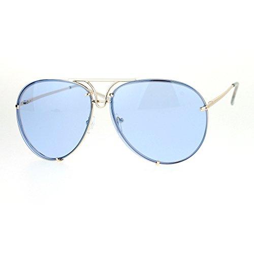 SA106 Retro Vintage Rimless Color Oceanic Lens Aviator Sunglasses - Blue Rimless Sunglasses