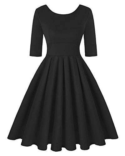 Women's Retro Floral Dress Vintage Style Cocktail Party Swing Dresses (Plain Black,Size L)