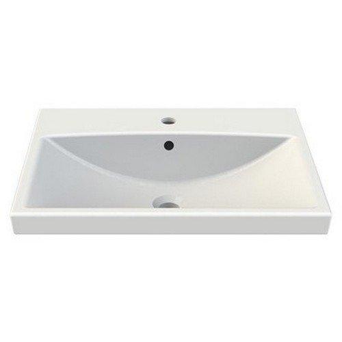 CeraStyle 032000-U-One Hole Elite Rectangle Ceramic Wall Mounted/Self Rimming Sink, White