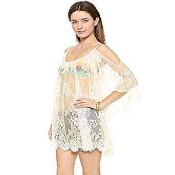 42e53bb8ee0 Image Unavailable. Image not available for. Colour: Bikini Cover Up White  Black Lace Pareo Beach Dress Hollow Tassel Strappy Bathing Suit Cover Ups