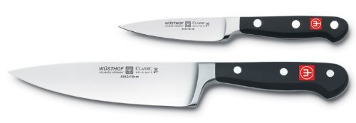 Wüsthof 8944 Wusthof Classic Chef's 2 Piece Starter Knife Set, Black ()