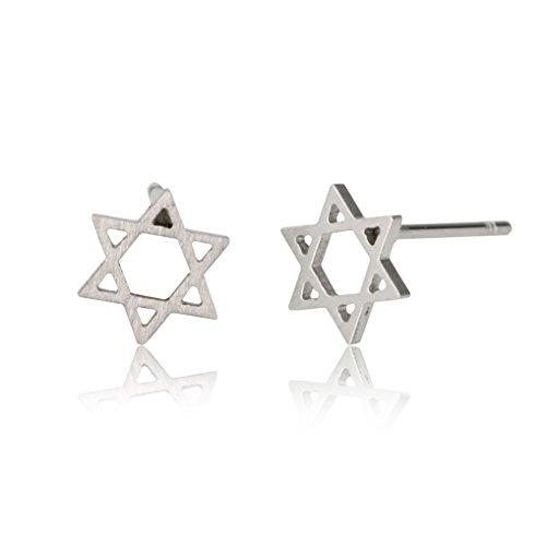 HUAN XUN Star of David Earrings Stainless Steel Stud Silver 8mm