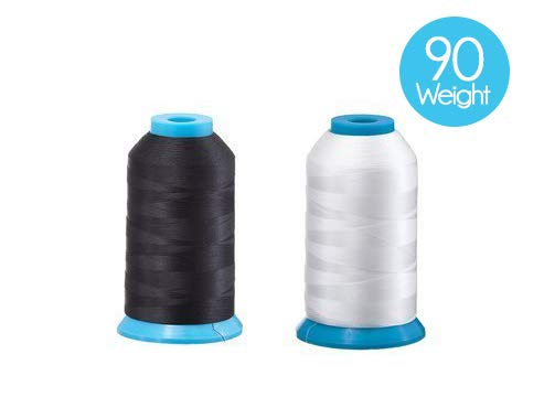 Set of 2 Huge Bobbin Thread for Sewing and Embroidery Machine 1 Black and 1 White 5500 Yards Each - Polyester - Embroidex - 90 Weight (Best Machine Embroidery Thread)