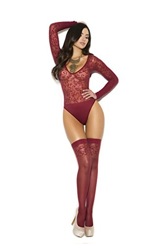 - Zabeanco Sexy Sheer Burnout Long Sleeve Thong Back Teddy With Matching Stockings included (One Size)
