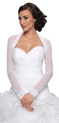 Bridal Ivory White Tulle Bolero Shrug Wedding Jacket Shawl Long Sleeves