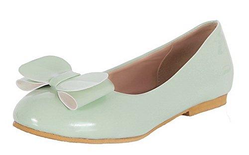 Allhqfashion Dames Lakleder Stevige Ronde Neus Lage Hakken Pumps-schoenen Groen