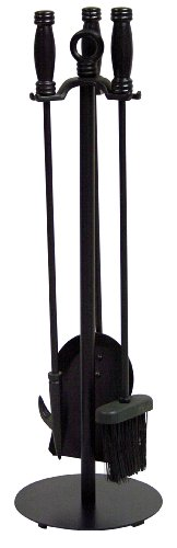 Uniflame, F-1048, 4pc Black Wrought Iron Fireset (Fireset Wrought Black Iron)