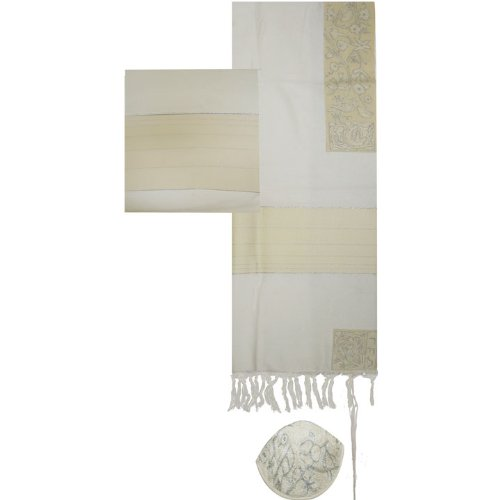 - Yair Emanuel Cotton Hand Embroidered The Matriarchs in Silver Tallit Prayer Shawl Set - Size 21