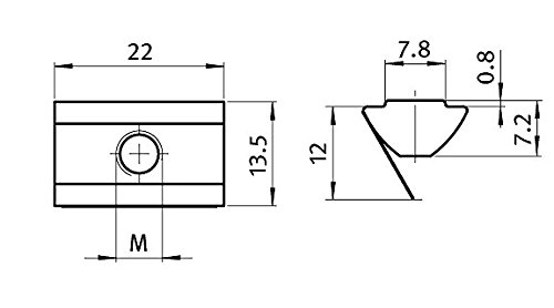 10 x Nutenstein Nut 8 M8 mit Steg Typ I Stahl verzinkt Federblech