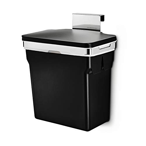 simplehuman 10 Liter / 2.6 Gallon In-Cabinet Trash Can, Heavy-Duty Steel Frame, - Side Waste Bin Mounted