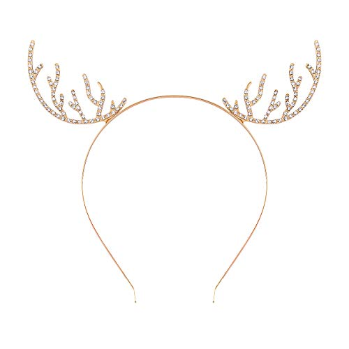 - CEALXHENY Christmas Headband for Women Delicate Reindeer Antlers Headbands Holiday Party Gifts for Girls (A Gold 1)