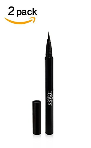 2 Pack Blk Ink - HYANN Liquid Eyeliner Makeup [Ultra Fine] Soft Brush Felt Tip [Airtight Cap] :: Ink Tank Technology :: [Made in KOREA] [Waterproof] [Quick Dry] [Smudge Proof] Long Lasting Ink, Black [Pack of 2]