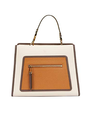 Fendi Small Shopping Bag Runaway Brown and Beige Leather Camelia Caramello 8BH344 ()