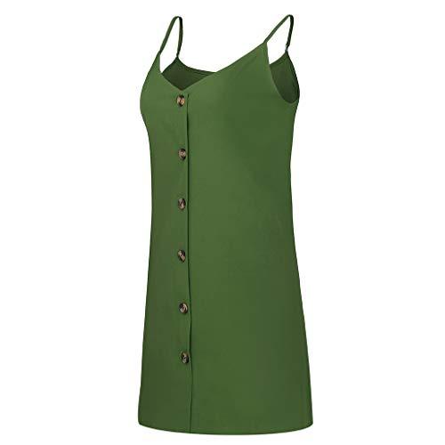 Womens Summer Beach Dress,Casual Swing T-Shirt Dresses Beach Cover up Boho Button Front Sleeveless Mini Beachwear Sundress (Green, XL) ()