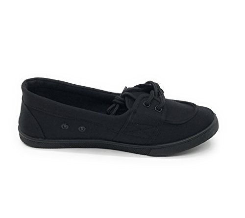 Blue Berry EASY21 Women Canvas Round Toe Slip On Flat Sneaker Oxford Boat Shoe All Black QDduYw8r