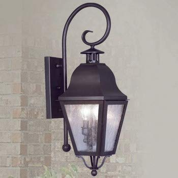 Livex Lighting 2551-07 Amwell - Two Light Outdoor Wall Sconce, Bronze Finish with Seeded Glass