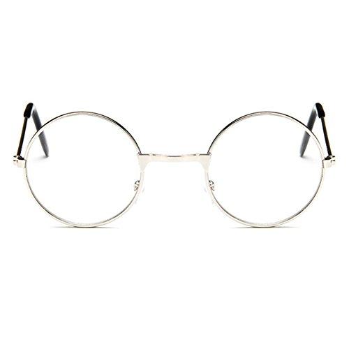 Fille Garçon lunettes rondes - Verres à lentilles transparentes Cadre Geek / Nerd Eyewear Lunettes avec boîtier en forme de voiture - hibote Argent