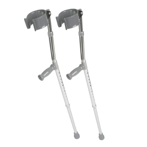 Medline MDS805160 Aluminum Forearm Crutches, Tall Adult (Pair of 2 Crutches)