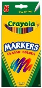 - Crayola Original Marker Set, Fine Tip, Assorted Classic Colors, Set of 8