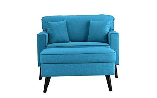 (Monowi Modern Contemporary Sky Blue Large Armchair w/Ottoman Storage Footrest Footstool | Model CCNTCHR - 193)