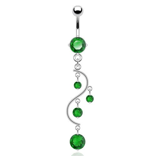 The Home of Hot Deals Vine Dangle Belly Navel Ring - 14 Gauge, 3/8