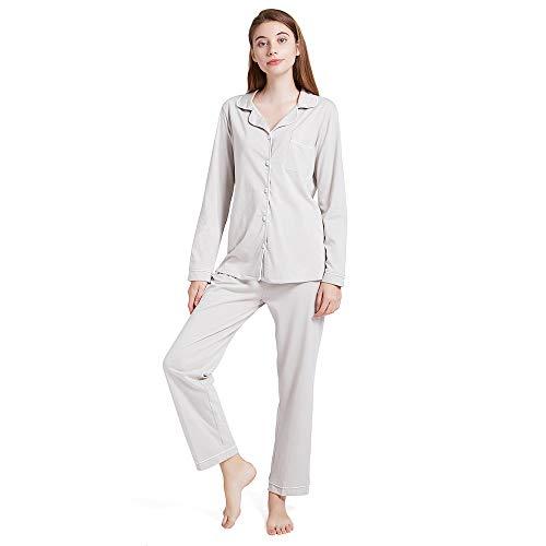 ENIDMIL Women's Pajama Sets Cotton Pajamas Women Long Sleeve Button Up Jersey Sleepwear Loungewear Set Top and Pants PJ Set (Grey, - Pajama Pants Long Women