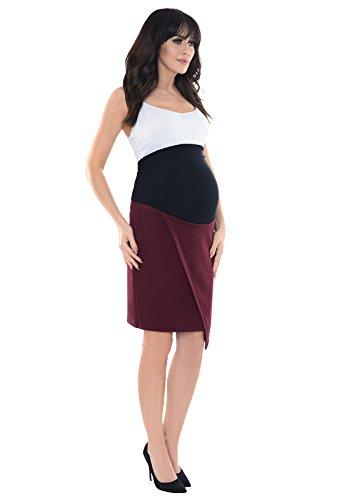 Purpless Maternity Falda Asimétrica Formal del Embarazo 1508 Burgundy