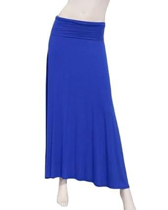 Blue Fold-Over Maxi Jersey Skirt