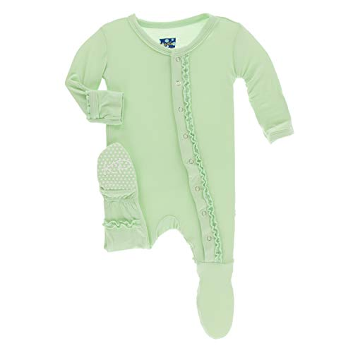 Kickee Pants Little Girls Solid Muffin Ruffle Footie with Snaps - Pistachio, Newborn ()