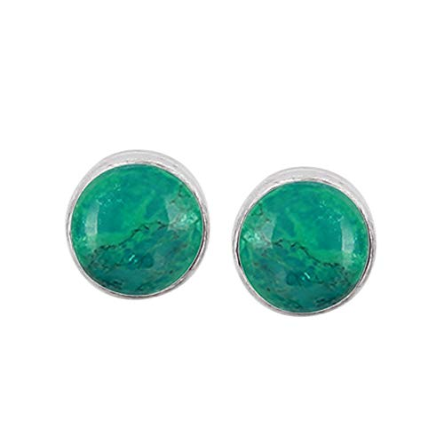 (Genuine Round Shape Turquoise Stud Earrings 925 Silver Plated Handmade Jewelry For Women Girls)
