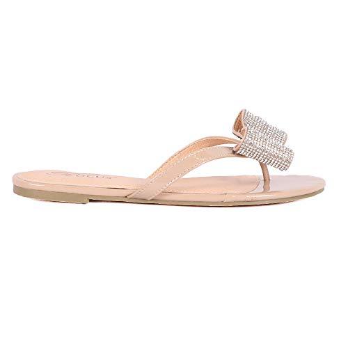 Rocus Women's Rhinestone Bow Detail Slip On Sandals (5.5 (M) US, Nude)